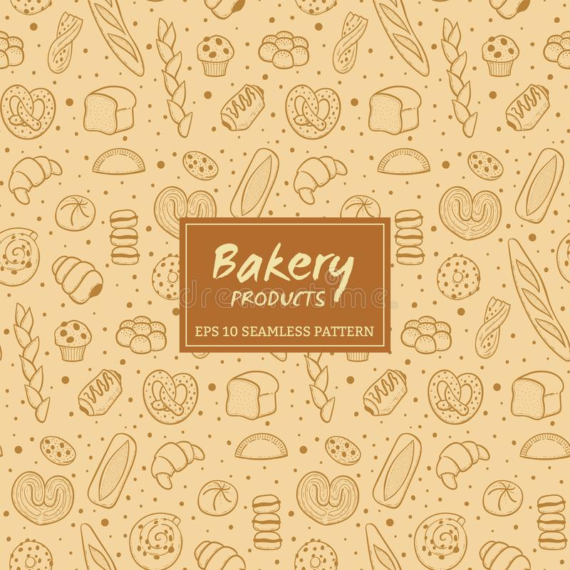 Hand drawn bakery products seamless pattern vector illustration