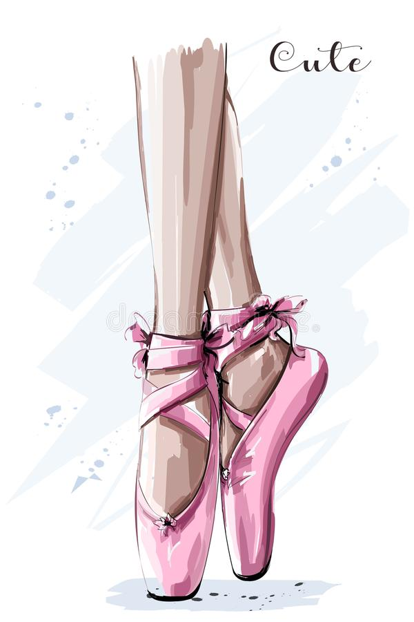 Hand drawn ballet dancer legs in pointe shoe. Sketch. Vector illustration vector illustration