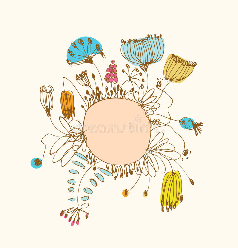 Hand drawn banner with round frame and place for your text. Vintage lace greeting card royalty free illustration