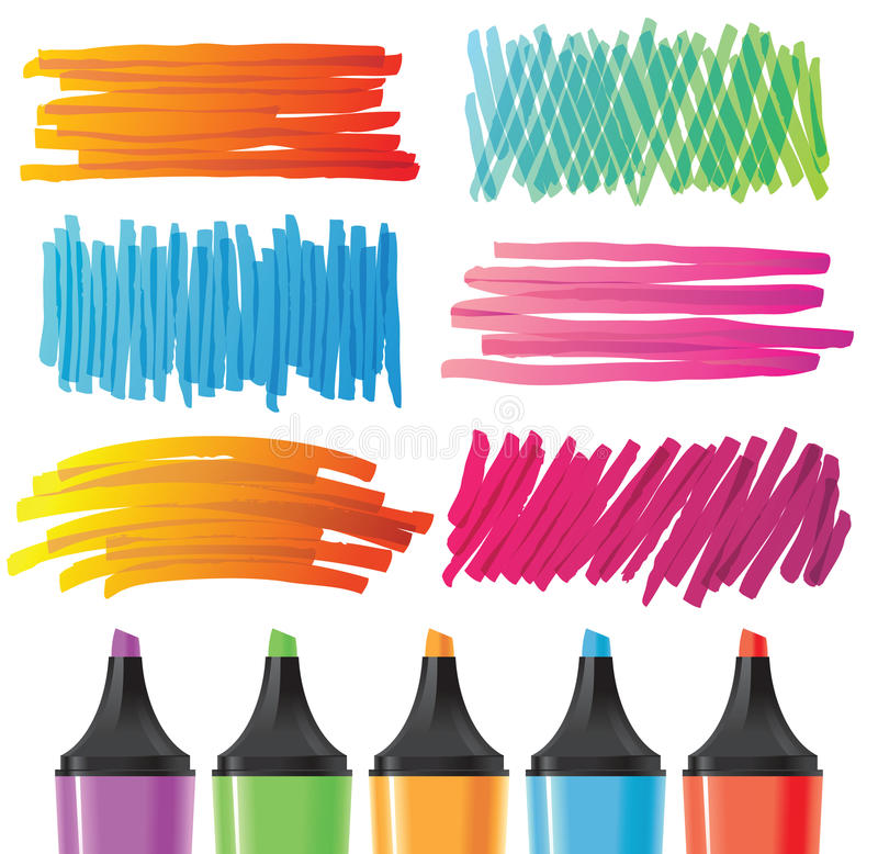 Hand drawn banners painted by marker. Every element ceparated from each other - easy to use in your projects vector illustration