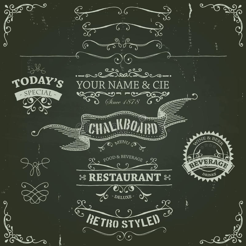 Hand Drawn Banners And Ribbons On Chalkboard vector illustration