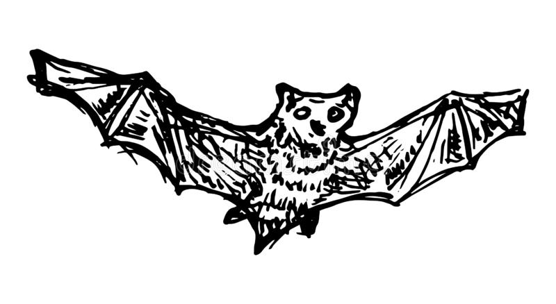 Hand Drawn bat doodle Schetsstijlpictogram Decoratie-element Geïsoleerd op witte achtergrond Forfaitair ontwerp Vectorillustratie royalty-vrije illustratie