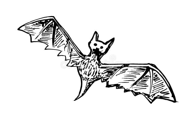 Hand Drawn bat doodle Schetsstijlpictogram Decoratie-element Geïsoleerd op witte achtergrond Forfaitair ontwerp Vectorillustratie vector illustratie