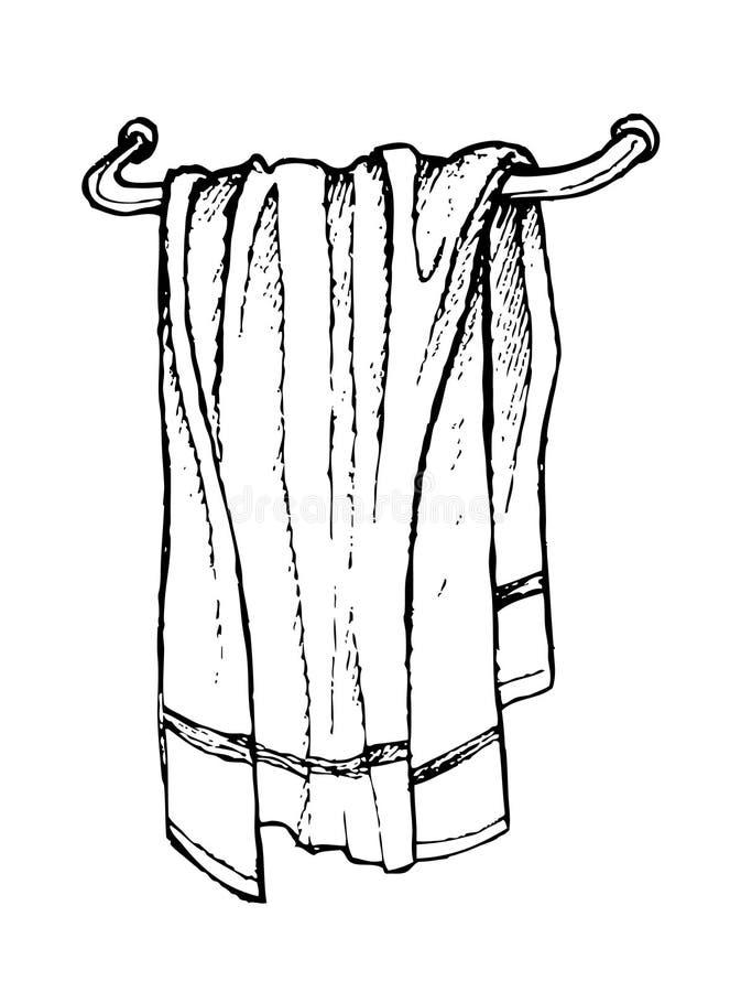 Hand drawn bath towel. Line art stock illustration
