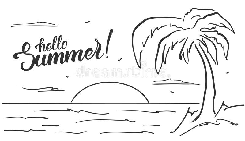Hand drawn beach landscape with palm tree and handwritten lettering of Hello Summer. Sketch line design. Vector illustration: Hand drawn beach landscape with royalty free illustration