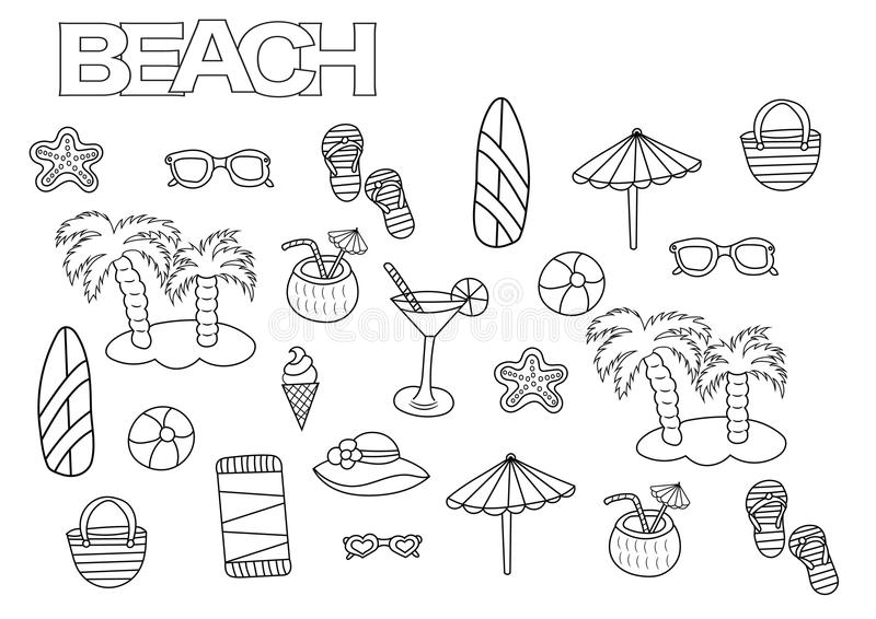 Hand drawn beach set. Coloring book page template. stock illustration