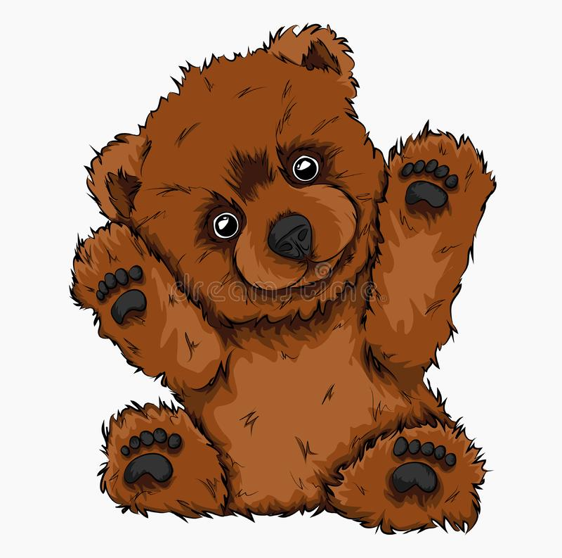 Hand drawn bear toy. Cute children`s toy. Vector illustration royalty free illustration