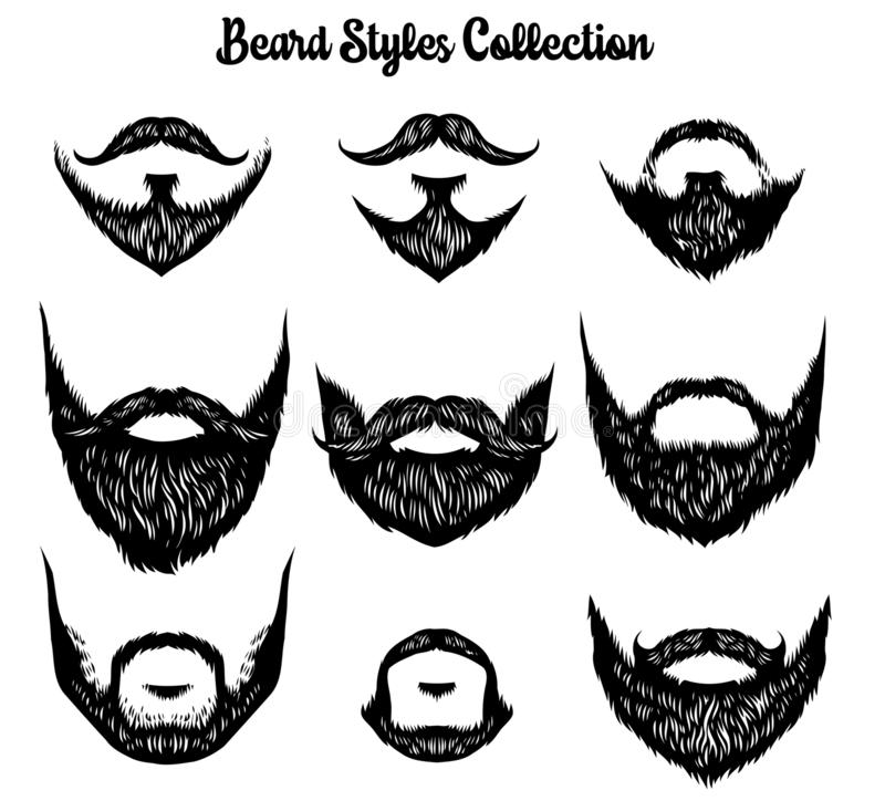 Hand drawn of beard styles collection vector illustration
