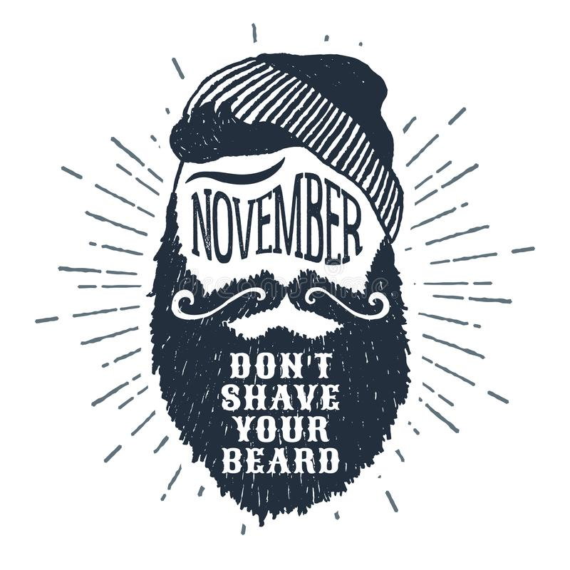 Hand drawn bearded face vector illustration and lettering. stock illustration