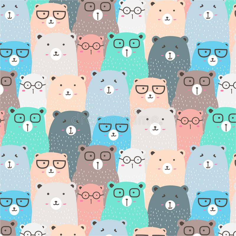 Hand Drawn Bears Vector Pattern Background. Fun Doodle. vector illustration