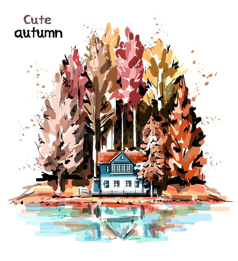 Hand drawn beautiful autumn nature with forest, house and lake. Sketch vector illustration