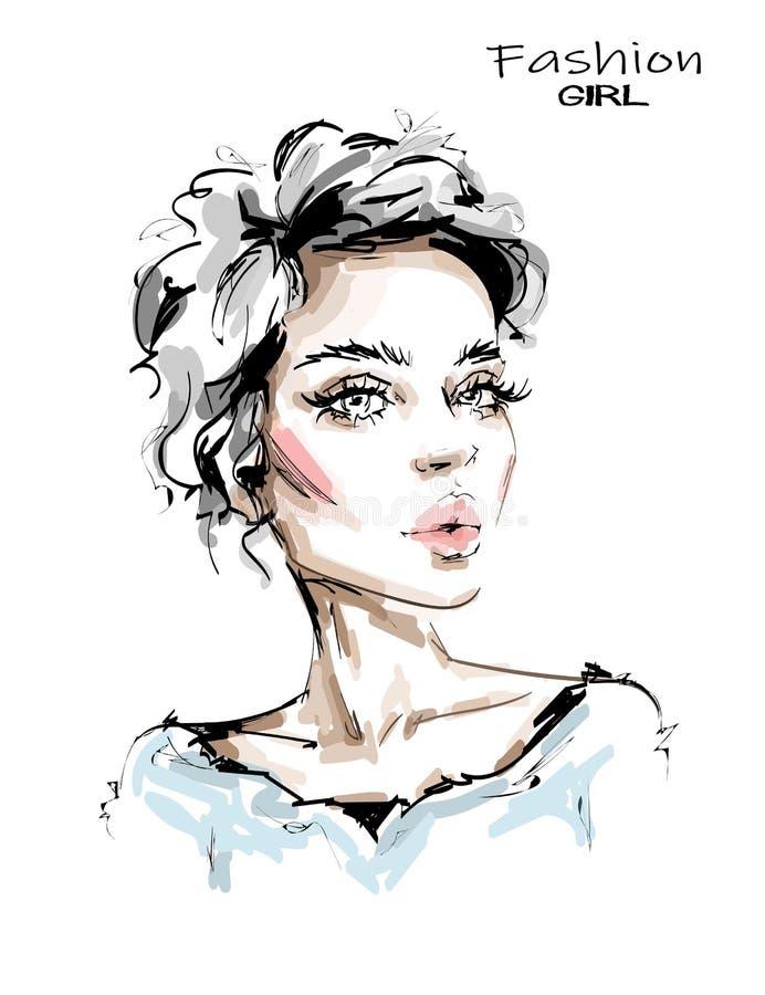 Hand drawn beautiful blonde hair young woman. Stylish elegant girl. Beautiful female face. Fashion woman look. Sketch vector illustration
