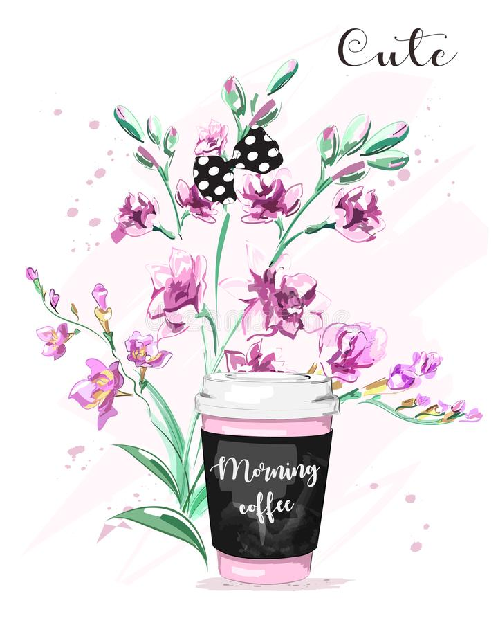 Hand drawn beautiful branch with flowers. Cute set with paper coffee cup, flowers and bow. stock illustration