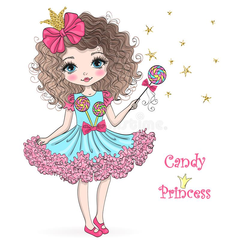 Free Hand Drawn Beautiful, Cute, Candy Princess Girl With Crown. Royalty Free Stock Images - 144667489