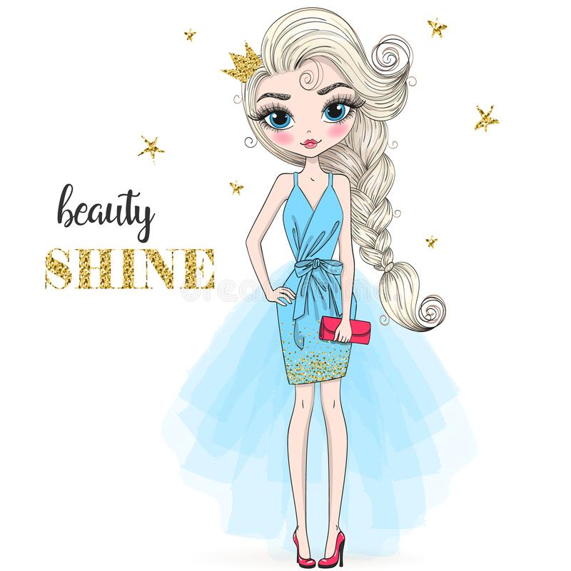 Free Hand Drawn Beautiful Cute Cartoon Girl With Crown And Background With Inscription Girl Power. Royalty Free Stock Images - 168390759
