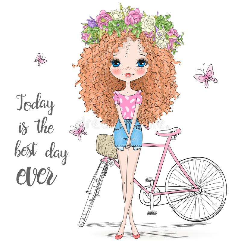 Hand drawn beautiful, cute curly hair girl in a wreath stands near bicycle. vector illustration