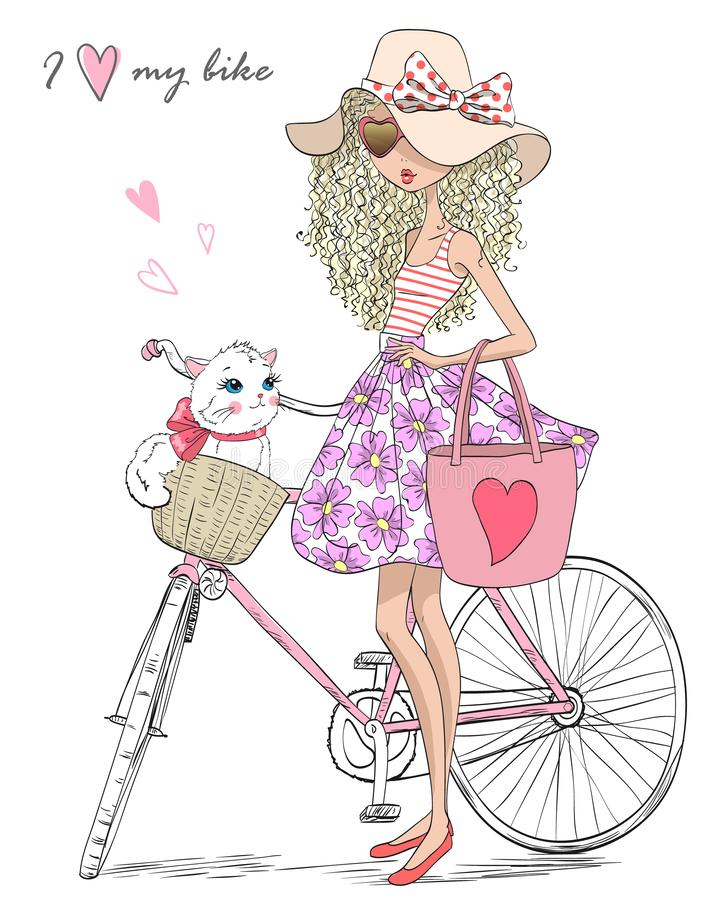 Hand drawn beautiful, cute girl stands near bicycle with a basket full of flowers. Vector illustration stock illustration