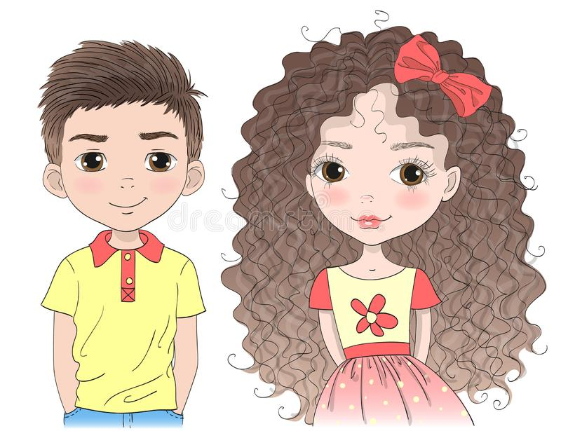 Hand drawn beautiful, cute, little girl and cartoon boy. vector illustration