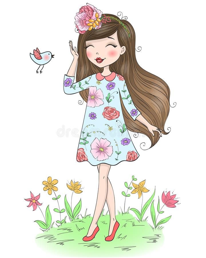 Free Hand Drawn Beautiful Cute Little Girl With Flower On Her Head. Stock Image - 125912541