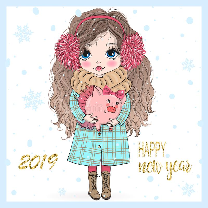 Free Hand Drawn Beautiful Cute Little New Year Girl With Pink Pig. Stock Photos - 144667283