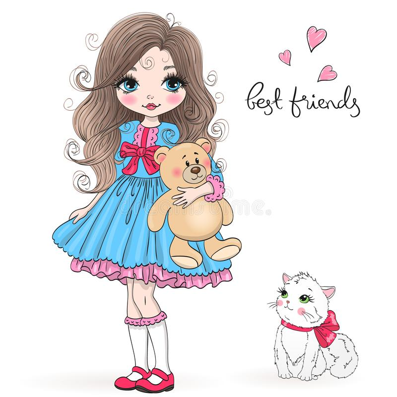 Hand drawn beautiful cute little princess girl with teddy bear and cat. Vector illustration royalty free illustration
