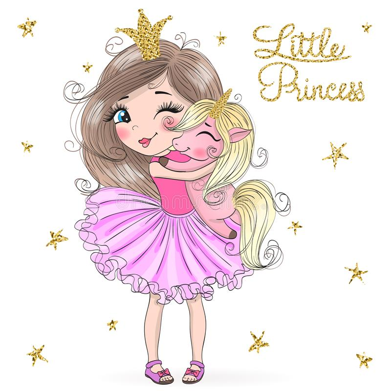 Free Hand Drawn Beautiful Cute Little Princess Girls With Unicorn. Royalty Free Stock Image - 144667056