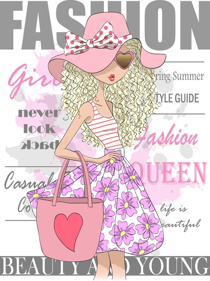 Hand drawn beautiful cute summer girl against the background of the cover of a glossy magazine. royalty free illustration