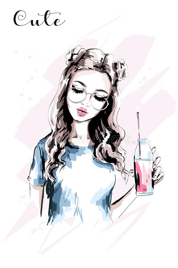 Hand drawn beautiful girl with stylish hairstyle. Fashion woman with drink bottle. Cute young woman portrait. stock illustration