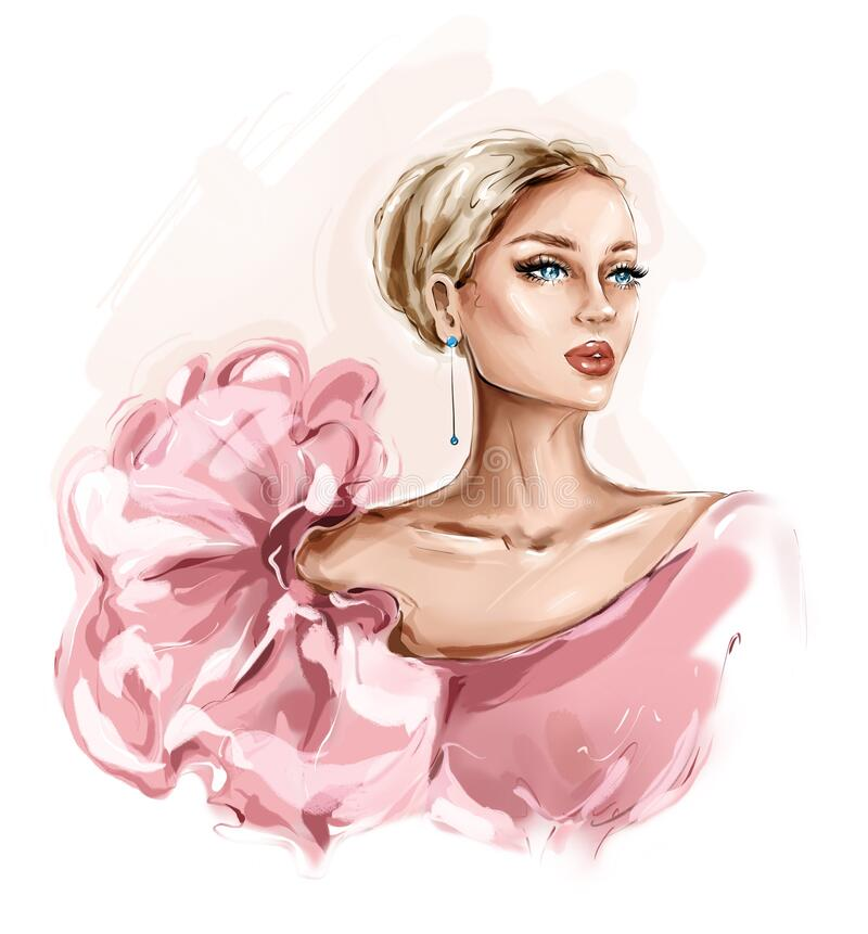 Free Hand Drawn Beautiful Hand Drawn Beautiful Young Woman In Pink Dress. Stylish Girl. Fashion Woman Look. Sketch. Stock Image - 169917691
