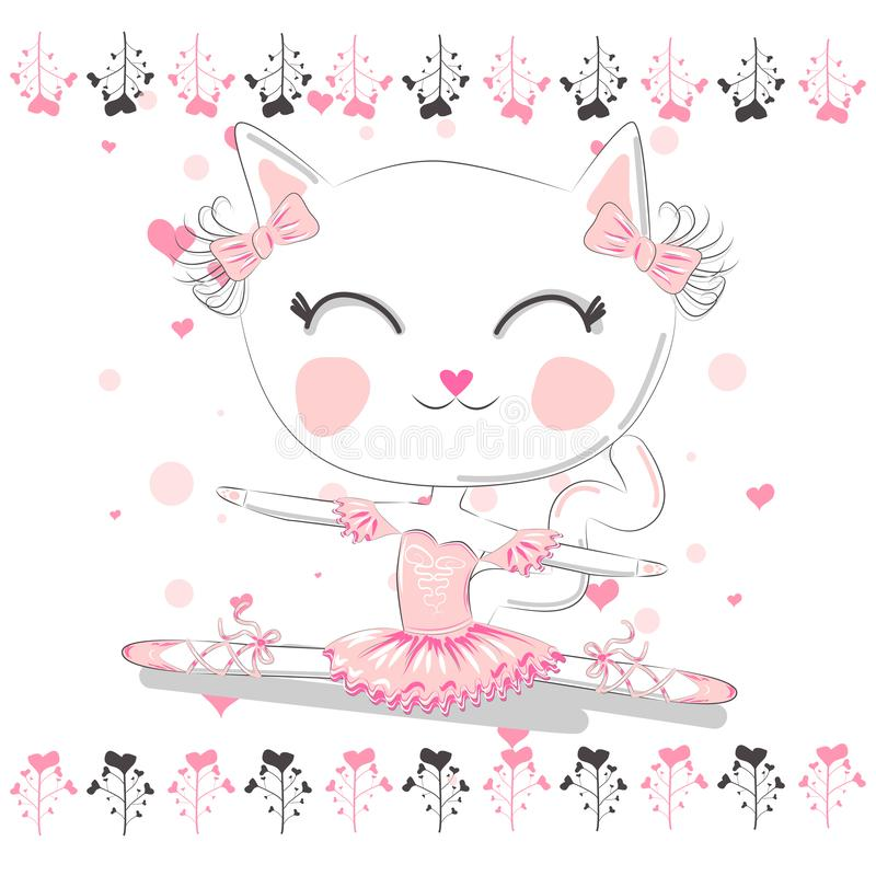 Hand drawn beautiful, lovely, little ballerina cat royalty free illustration