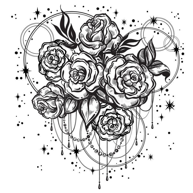 Hand-drawn beautiful roses in linear style with sacred geometry and stars. Tattoo art. Graphic vintage composition. Vector art. Hand-drawn beautiful roses in stock illustration