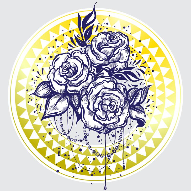 Hand-drawn beautiful roses over tribal geometric pattern. Elegant tattoo design. Graphic vintage linear style composition. Vector vector illustration