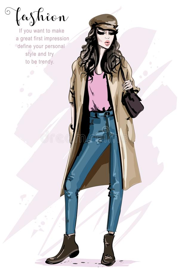 Hand drawn beautiful woman in fashion clothes. Stylish lady. Young woman in cap. Fashion model posing. Sketch vector illustration