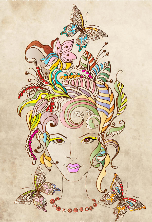 Hand Drawn Beautiful woman with flowers in hair vector illustration