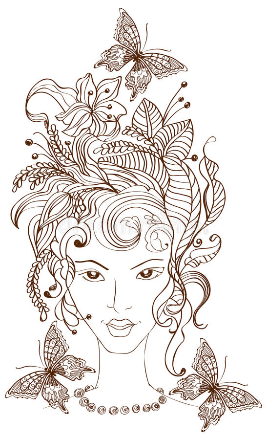 Download Hand Drawn Beautiful Woman With Flowers In Hair Stock Vector - Image: 24115985
