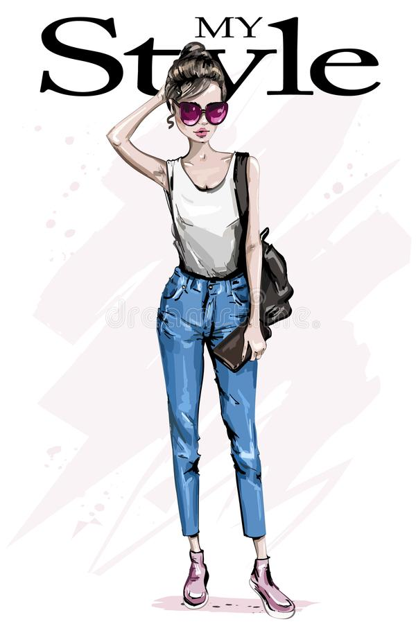 Hand drawn beautiful woman n sunglasses. Fashion woman with backpack. Stylish outfit. Sketch vector illustration
