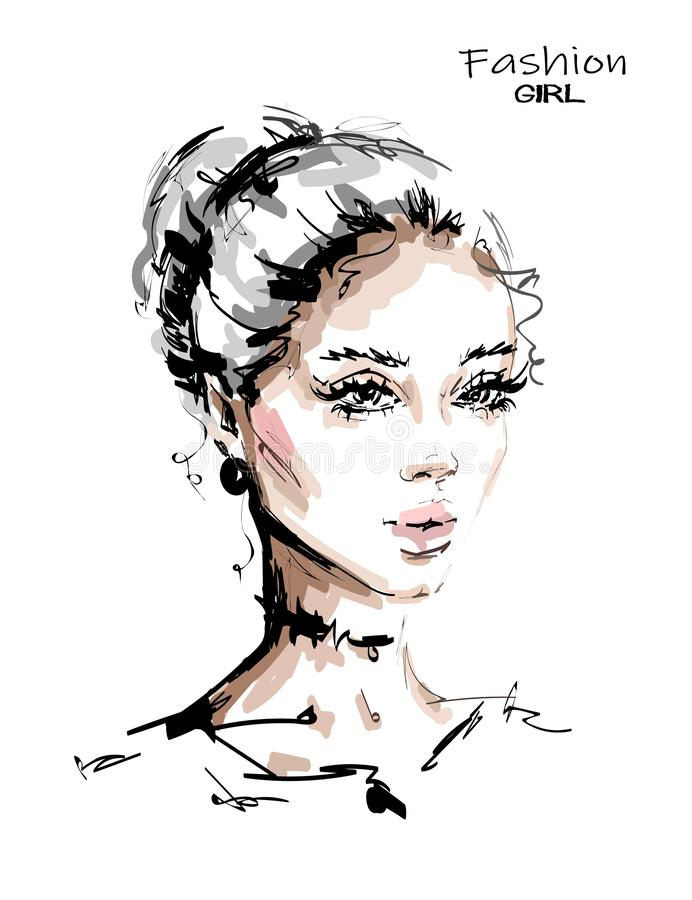Hand drawn beautiful young blonde hair woman. Stylish female face. Fashion woman. Sketch. Vector illustration royalty free illustration
