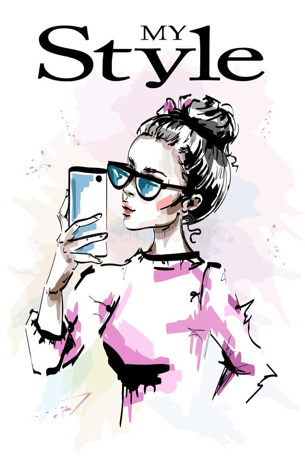Hand drawn beautiful young with phone in her hand. Stylish elegant girl in sunglasses. Fashion woman making selfie. Sketch stock illustration