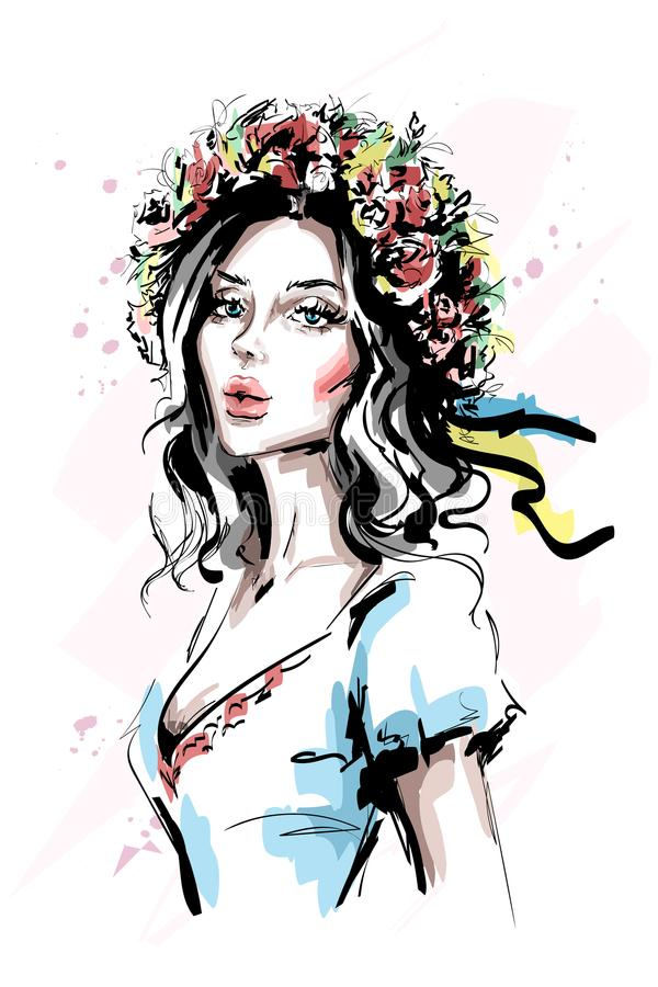 Hand drawn beautiful young ukrainian woman in flower wreath and ethnic clothes. Stylish elegant girl. Fashion woman portrait. Sketch vector illustration