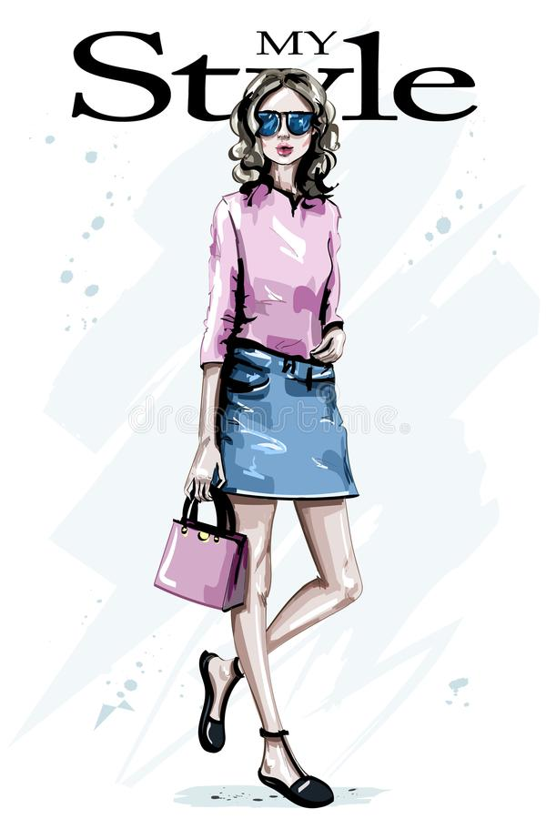 Hand drawn beautiful young woman with bag. Fshion woman in sunglasses. Stylish look. Cute girl. stock illustration