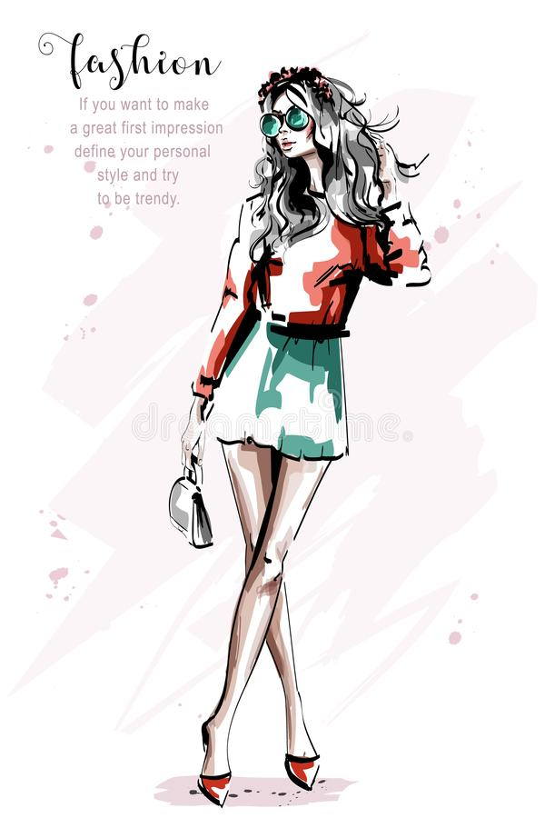 Hand drawn beautiful young woman with bag. Stylish elegant blond hair girl in sunglasses. Fashion woman full body portrait. royalty free illustration