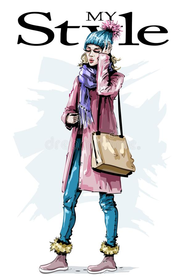 Hand drawn beautiful young woman with bag. Stylish female winter look. Fashion woman outfit. Sketch royalty free illustration