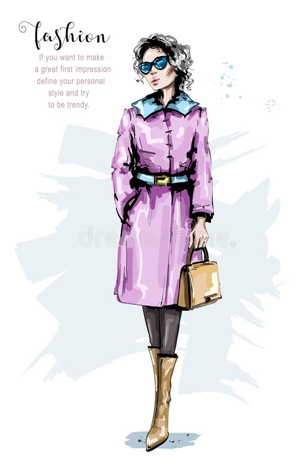 Hand drawn beautiful young woman with bag. Stylish girl in coat. Fashion woman look. Hand drawn beHand drawn beautiful young woman with bag. Stylish girl in vector illustration