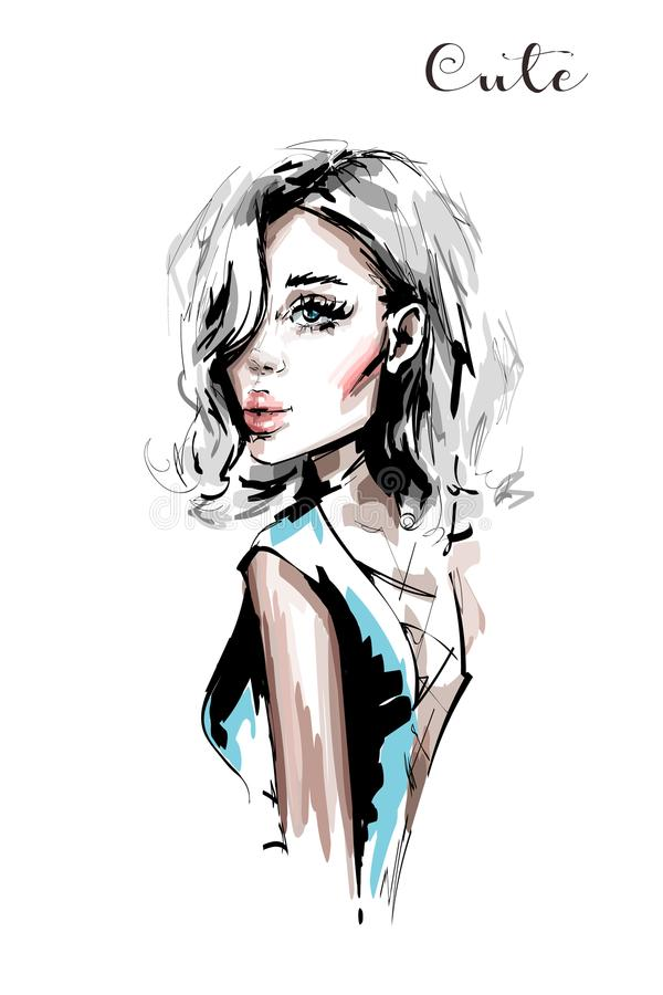 Hand drawn beautiful young woman with blonde hair. Stylish elegant girl. Fashion woman portrait. Sketch vector illustration