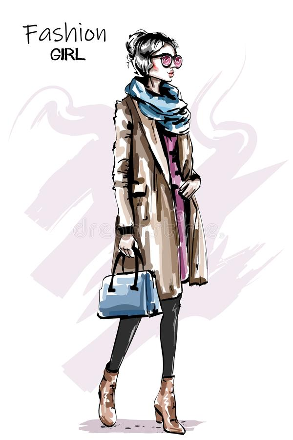 Hand drawn beautiful young woman in coat. Stylish elegant girl autumn outfit. Fashion woman full body portrait. royalty free illustration