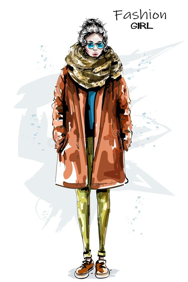 Hand drawn beautiful young woman in coat. Stylish girl in sunglasses. Fashion woman look. Winter outfit. Sketch stock illustration