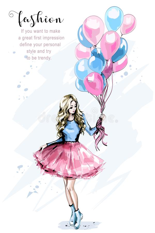 Hand drawn beautiful young woman with colorful balloons. Fashion blond hair woman. Stylish girl. vector illustration