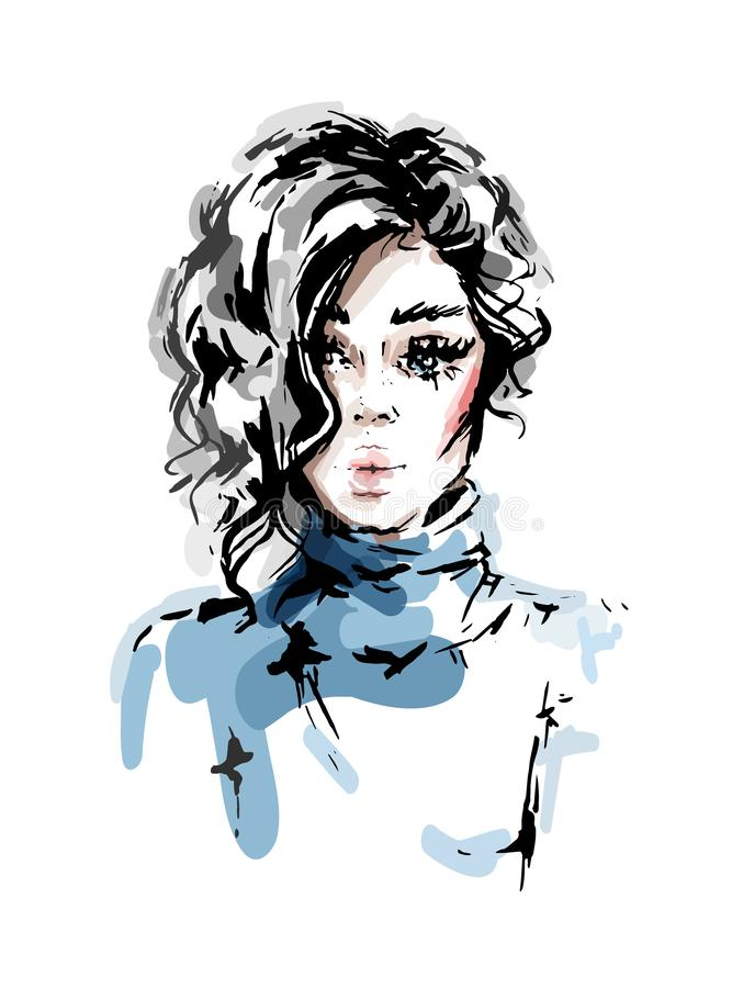 Hand drawn beautiful young woman with curly blonde hair. Stylish girl. Fashion woman look. Sketch vector illustration