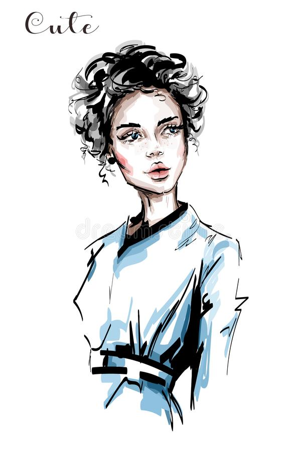 Hand drawn beautiful young woman with curly hair and freckles on her face. Stylish elegant girl. Fashion woman portrait. Sketch vector illustration