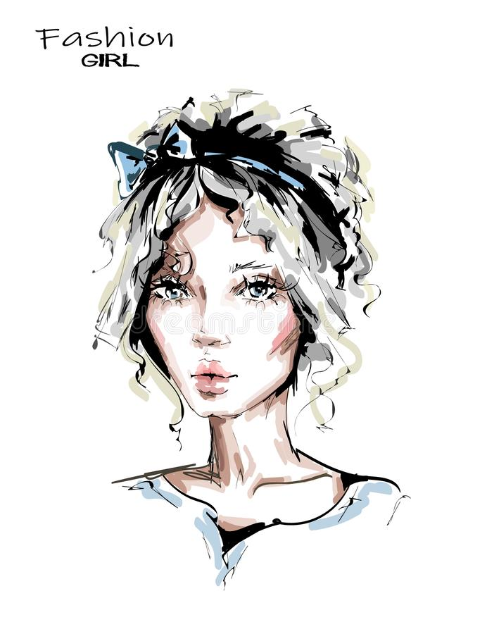 Hand drawn beautiful young woman with cute hairstyle. Stylish girl with bow in her blonde hair. Fashion woman look. Beautiful face. Sketch royalty free illustration